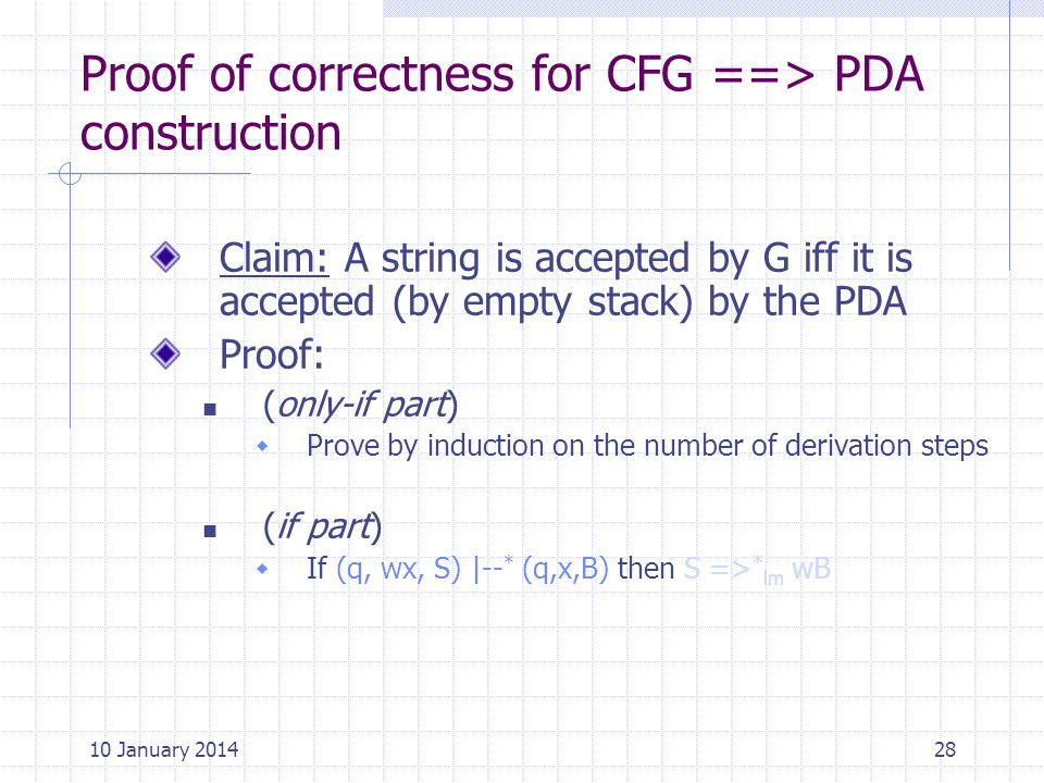 Proof of correctness for CFG ==> PDA construction