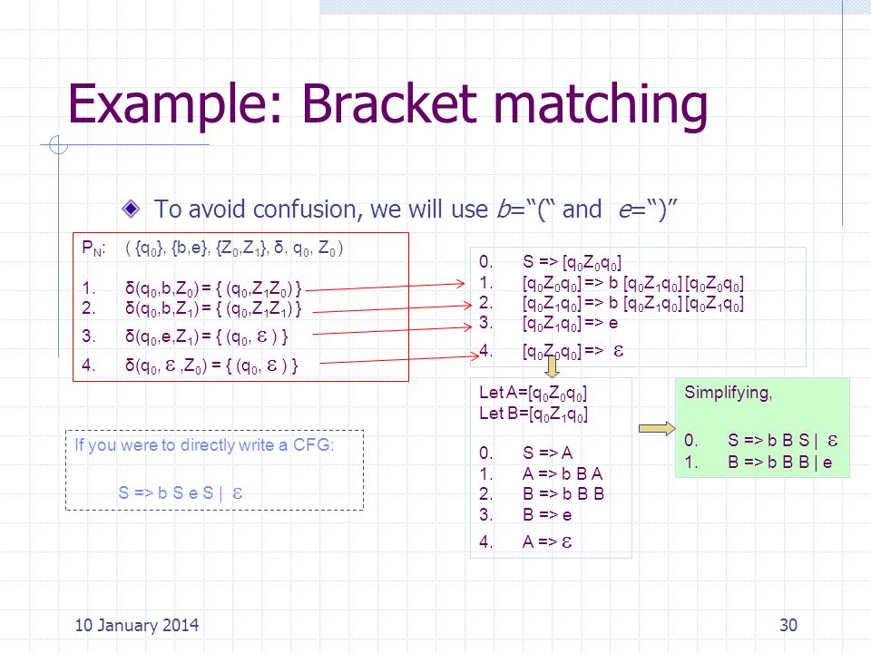 Example: Bracket matching