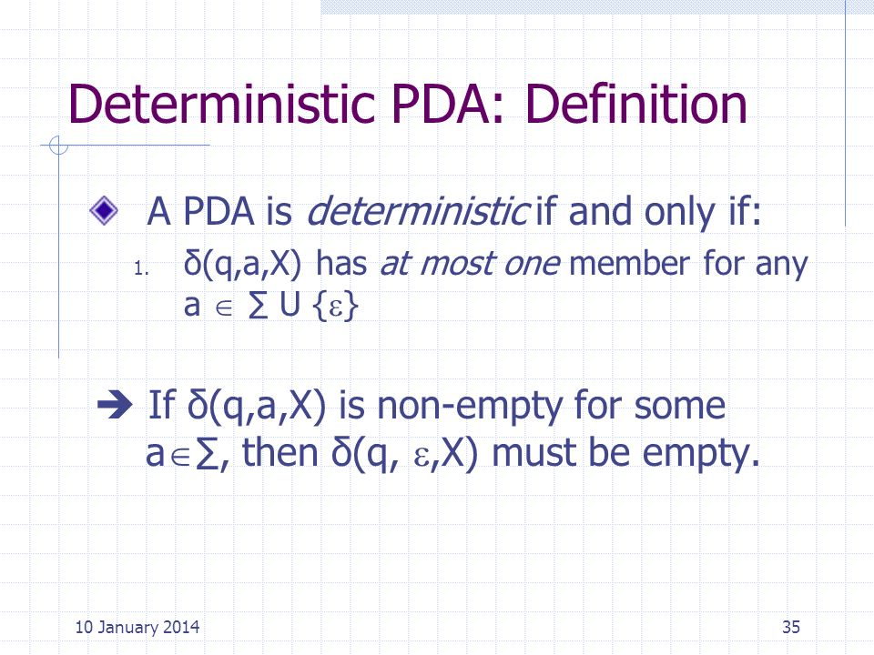 Deterministic PDA: Definition
