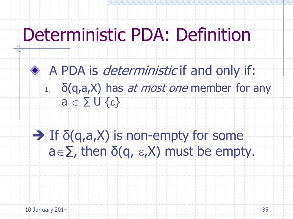 Deterministic PDA: Definition
