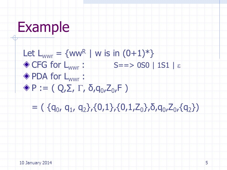 Example Let Lwwr = {wwR | w is in (0+1)*}