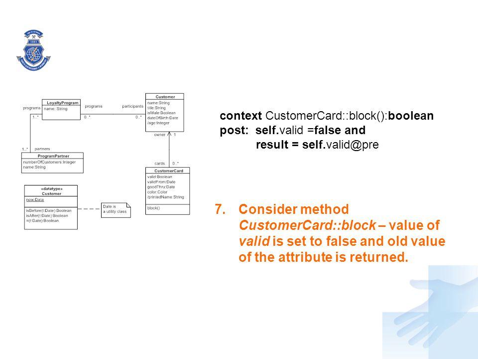 context CustomerCard::block():boolean