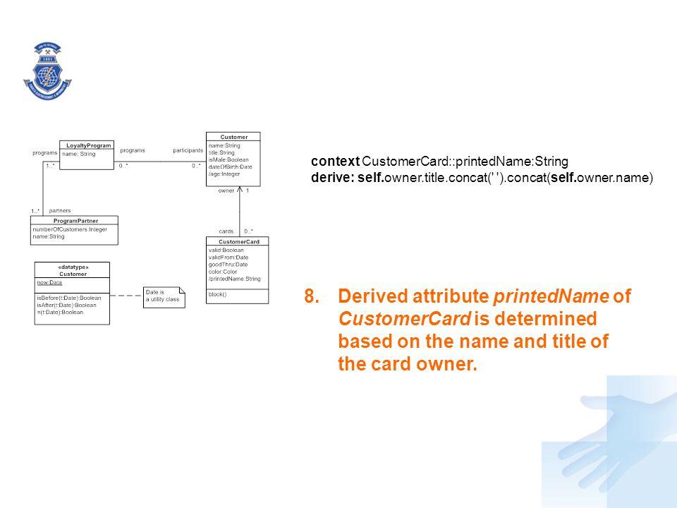 context CustomerCard::printedName:String