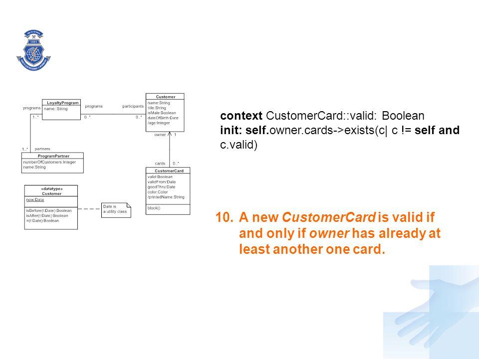context CustomerCard::valid: Boolean