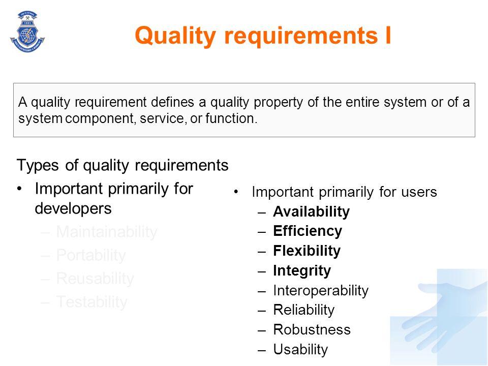 Quality requirements I
