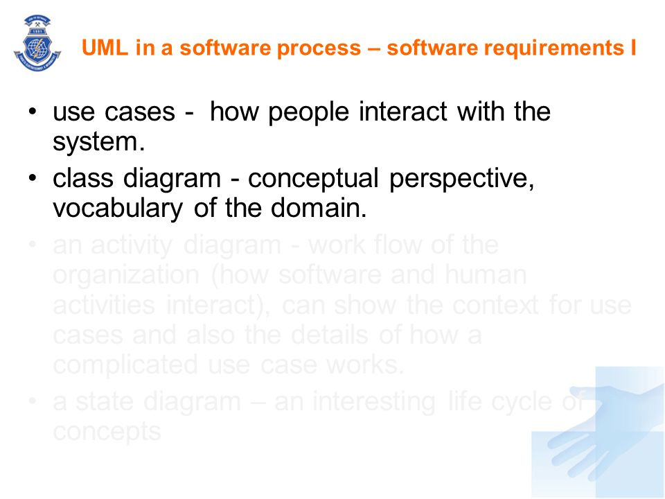 UML in a software process – software requirements I