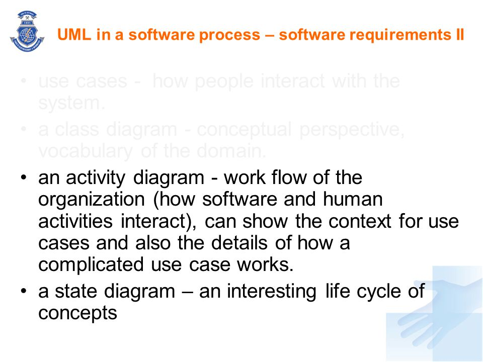 UML in a software process – software requirements II