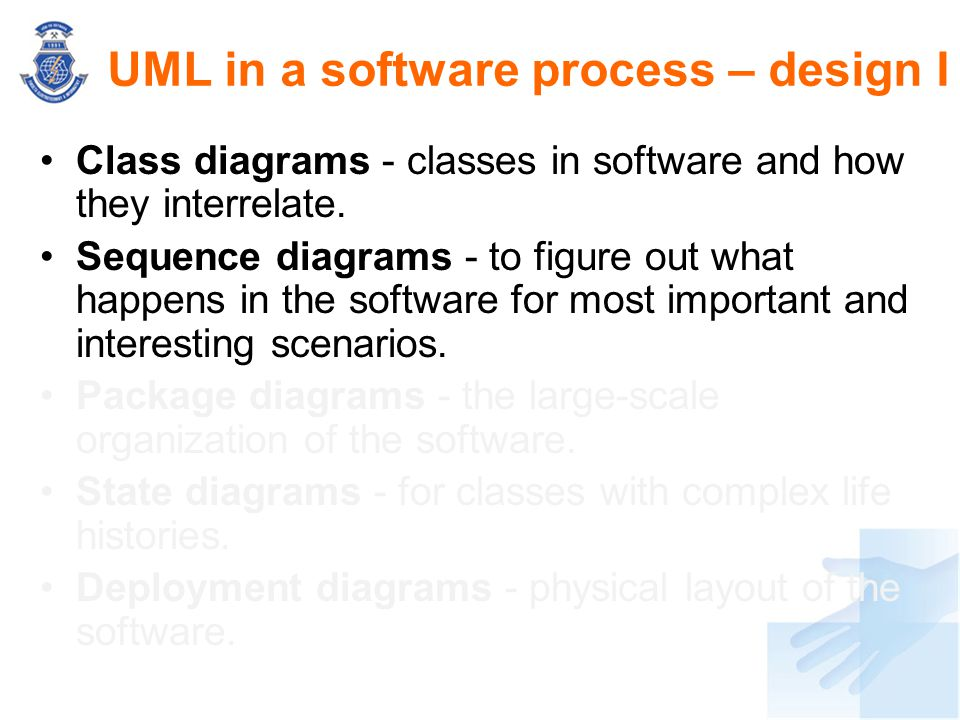 UML in a software process – design I