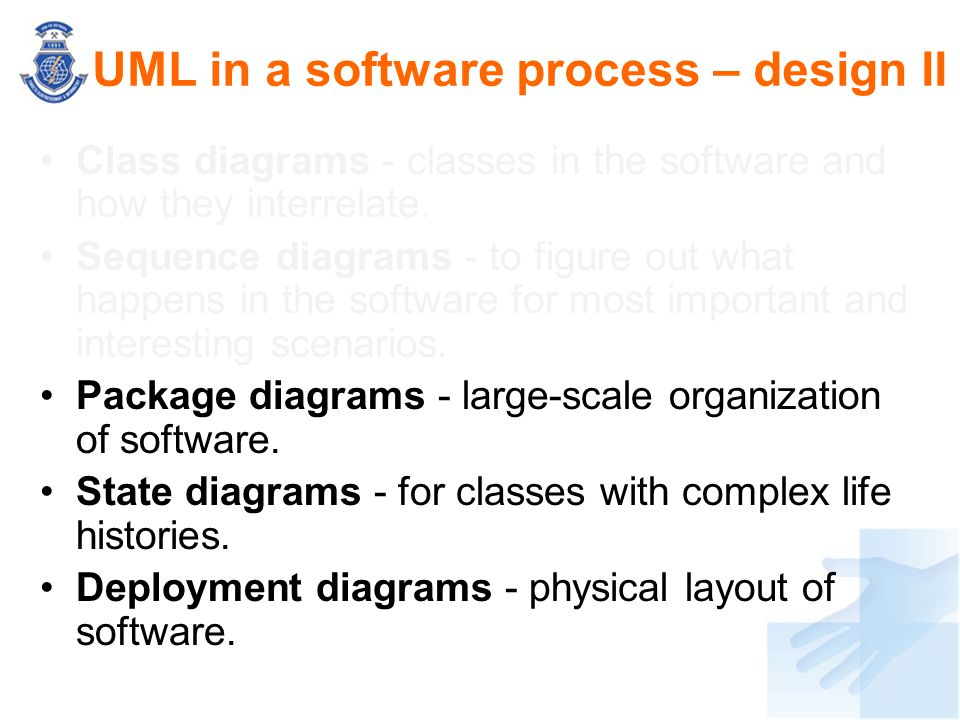 UML in a software process – design II