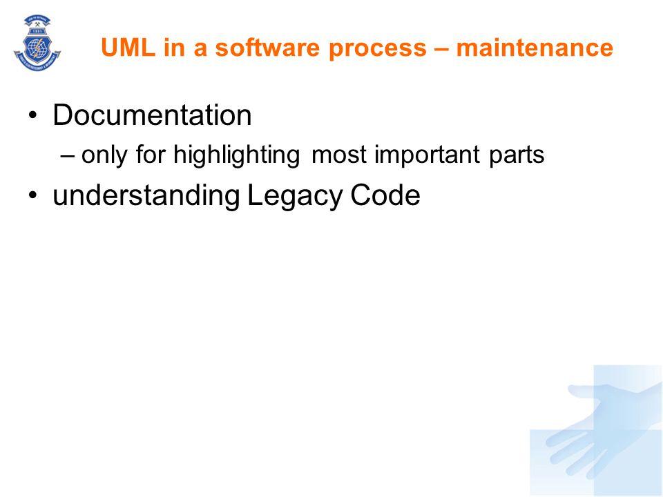 UML in a software process – maintenance