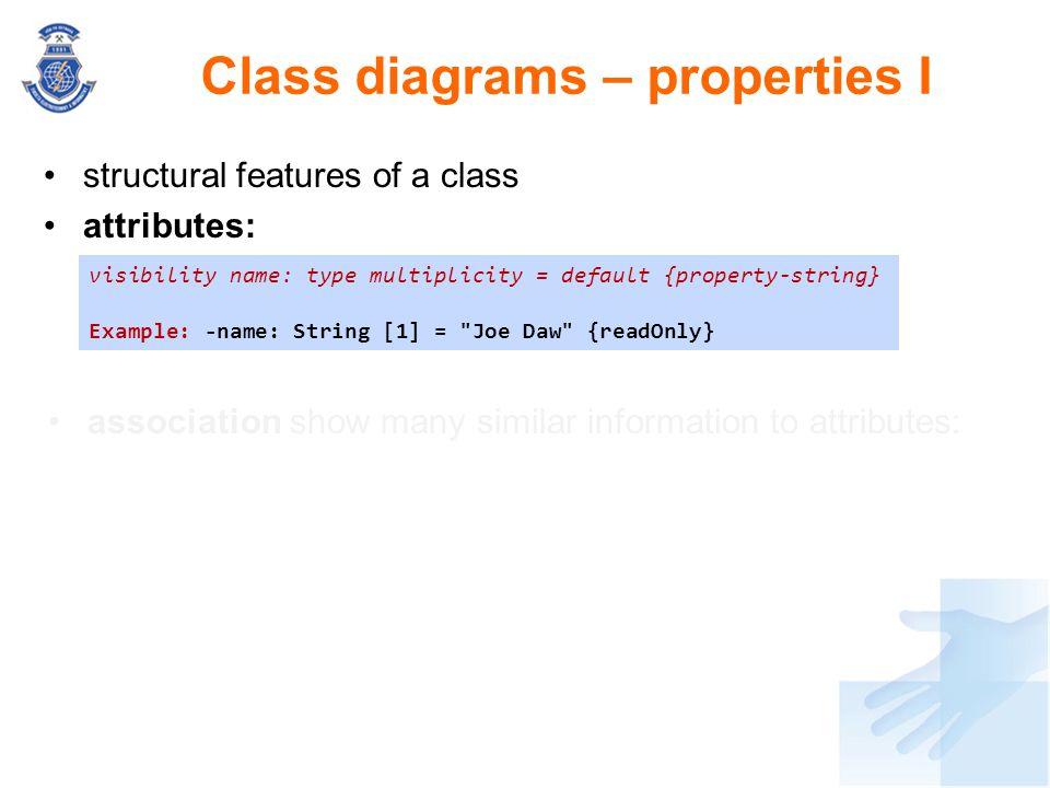 Class diagrams – properties I