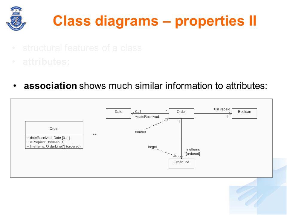 Class diagrams – properties II