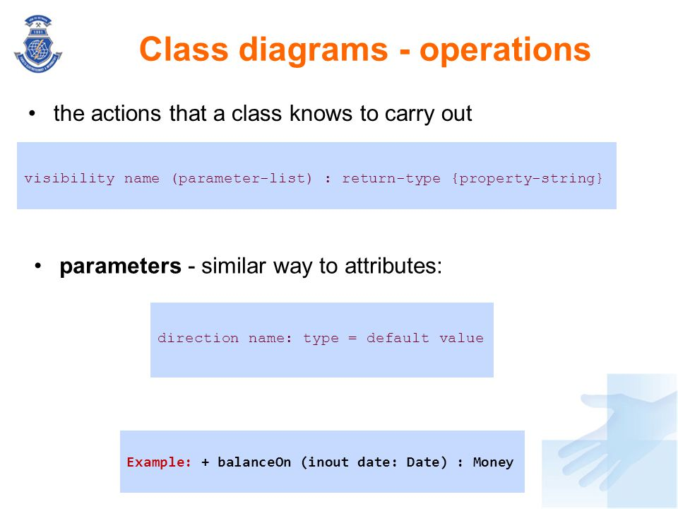 Class diagrams - operations