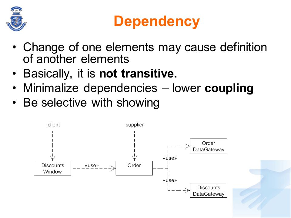 Dependency Change of one elements may cause definition of another elements. Basically, it is not transitive.
