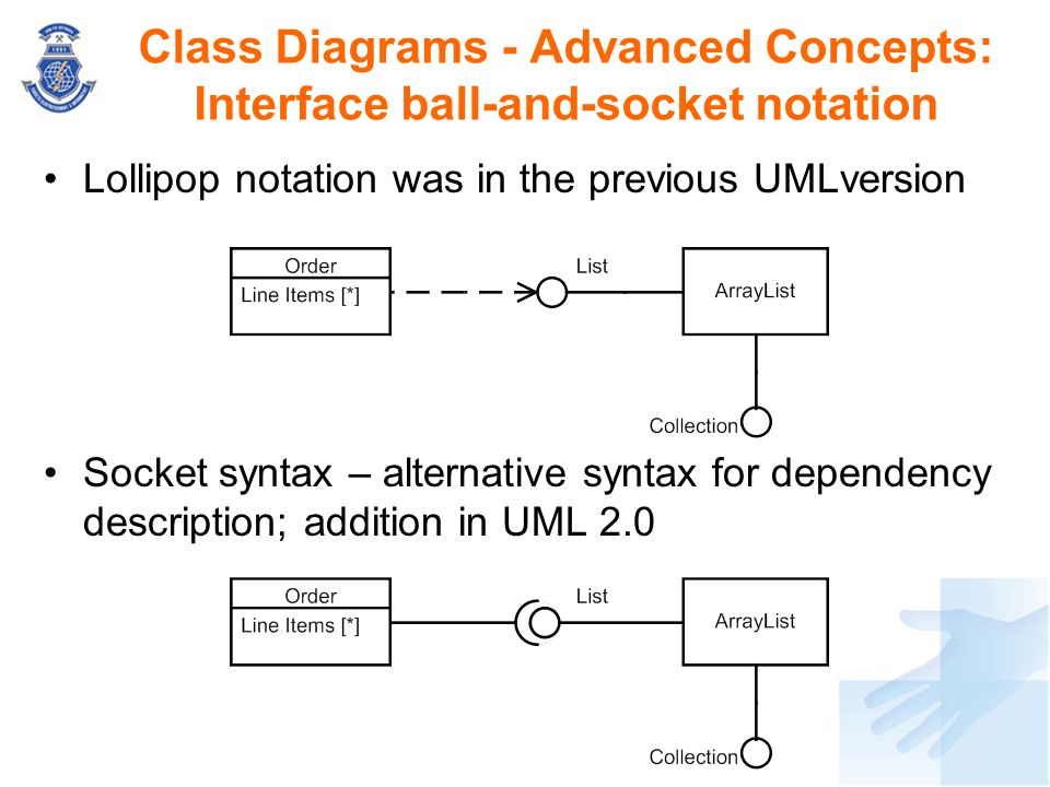 Class Diagrams - Advanced Concepts: Interface ball-and-socket notation