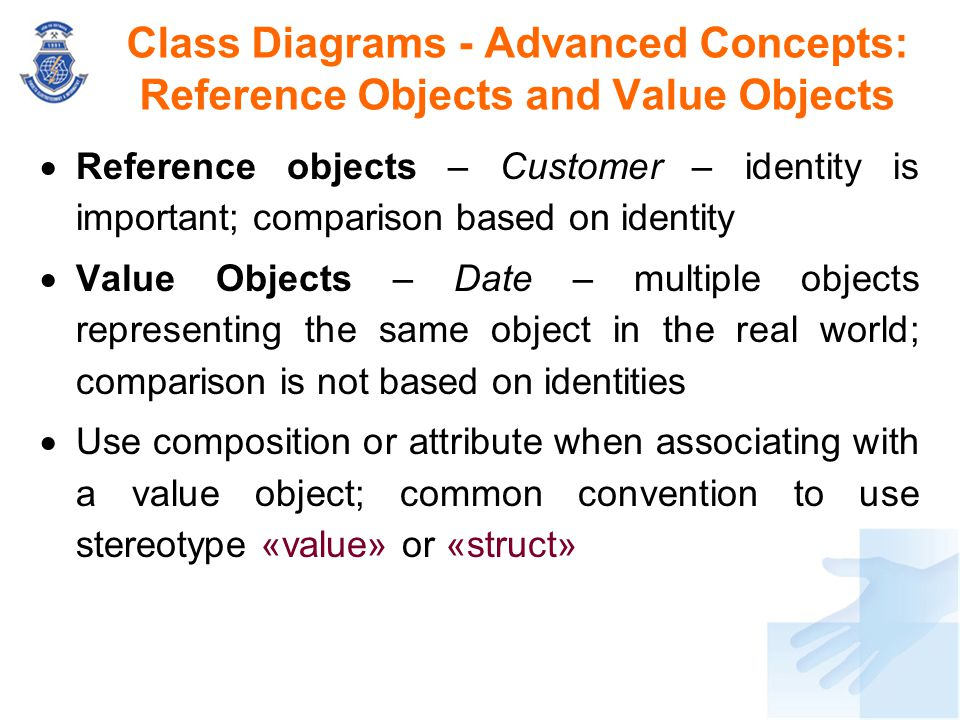 Class Diagrams - Advanced Concepts: Reference Objects and Value Objects