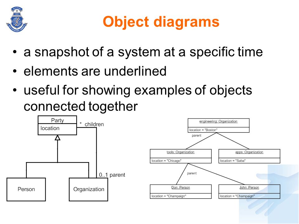 Object diagrams a snapshot of a system at a specific time