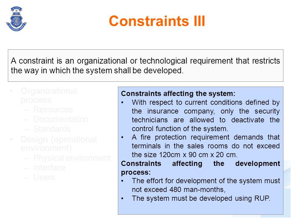Constraints III Organizational process