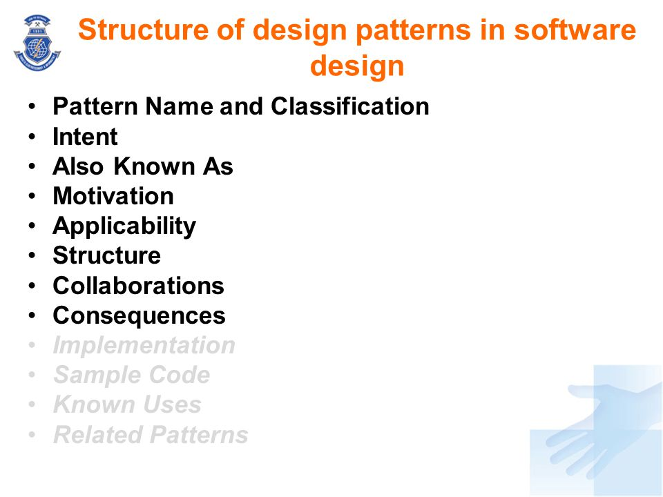 Structure of design patterns in software design
