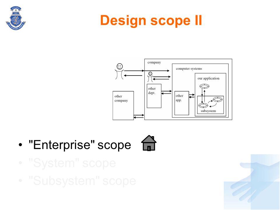 Design scope II Enterprise scope System scope Subsystem scope