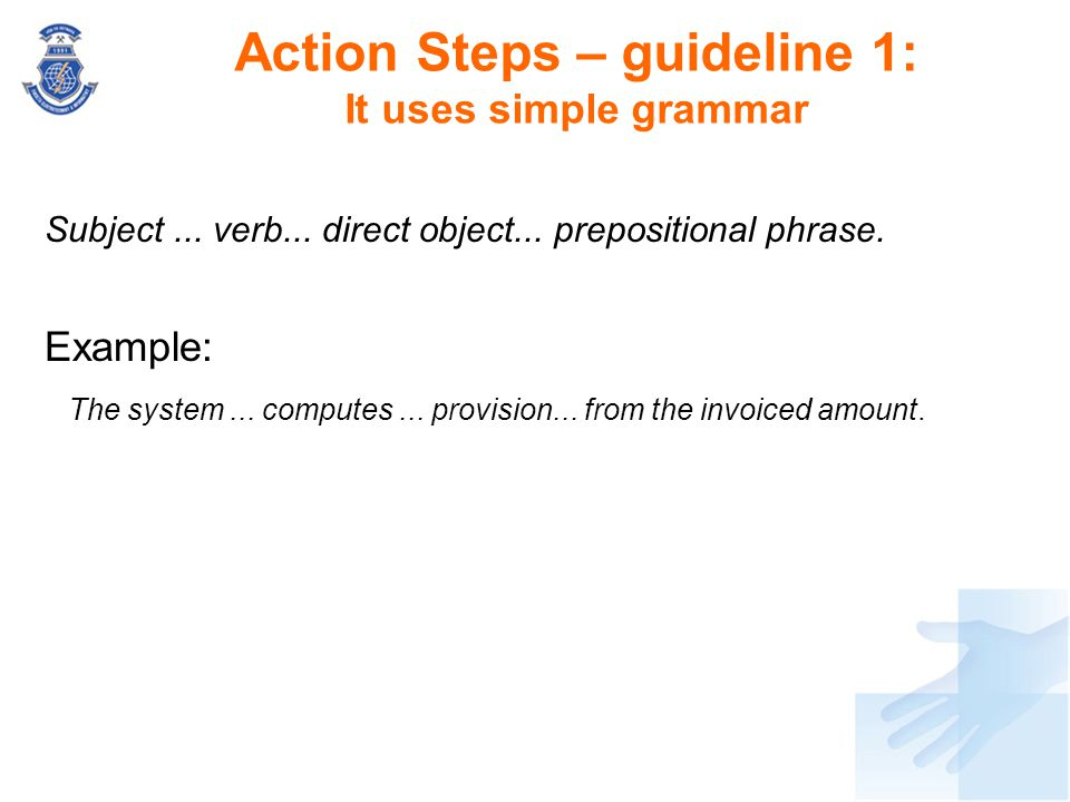 Action Steps – guideline 1: It uses simple grammar