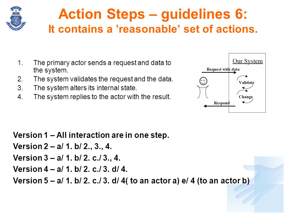 Action Steps – guidelines 6: It contains a 'reasonable' set of actions.