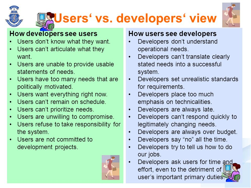 Users' vs. developers' view