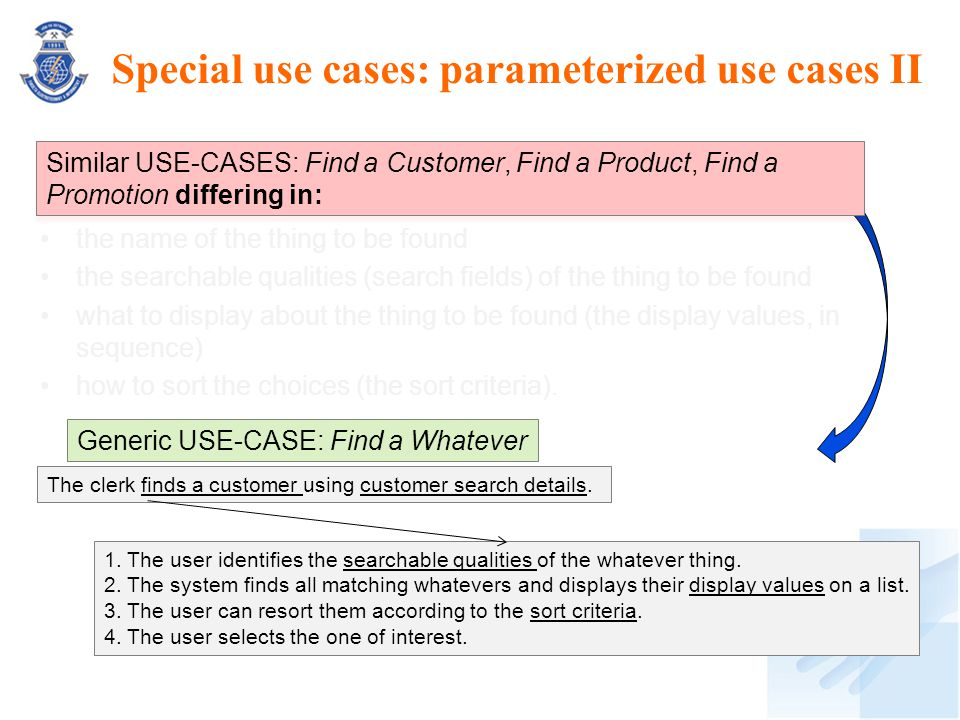 Special use cases: parameterized use cases II