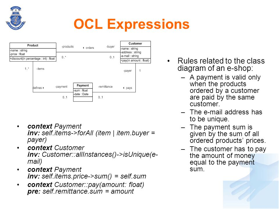 OCL Expressions Rules related to the class diagram of an e-shop: