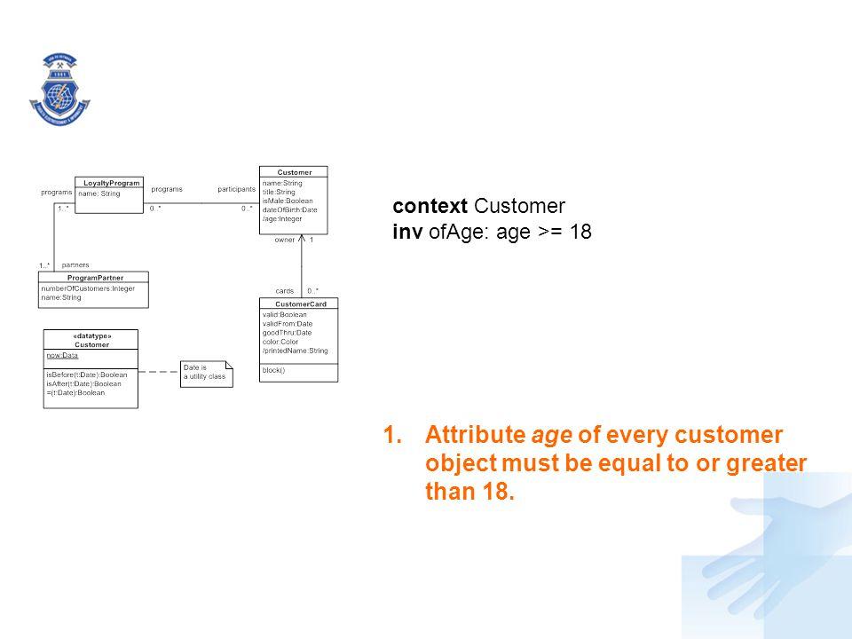 context Customer inv ofAge: age >= 18.