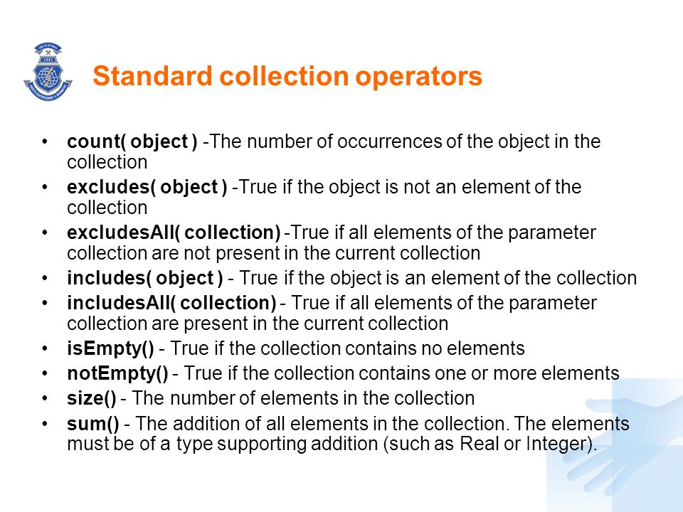 Standard collection operators