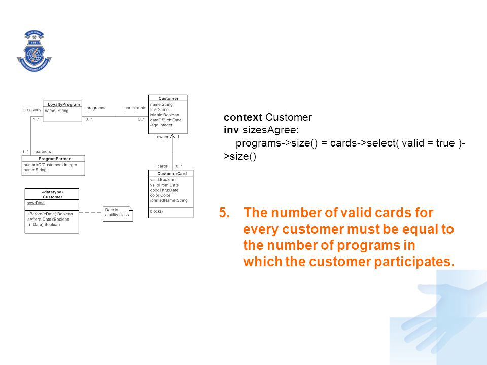 context Customer inv sizesAgree: programs->size() = cards->select( valid = true )->size()