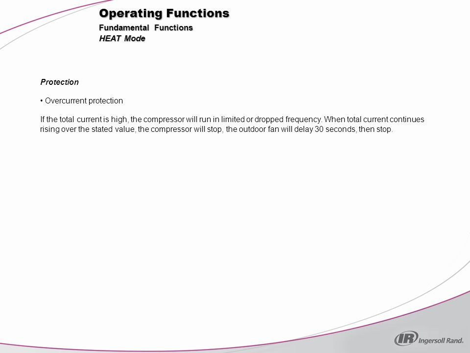 Operating Functions Fundamental Functions HEAT Mode Protection