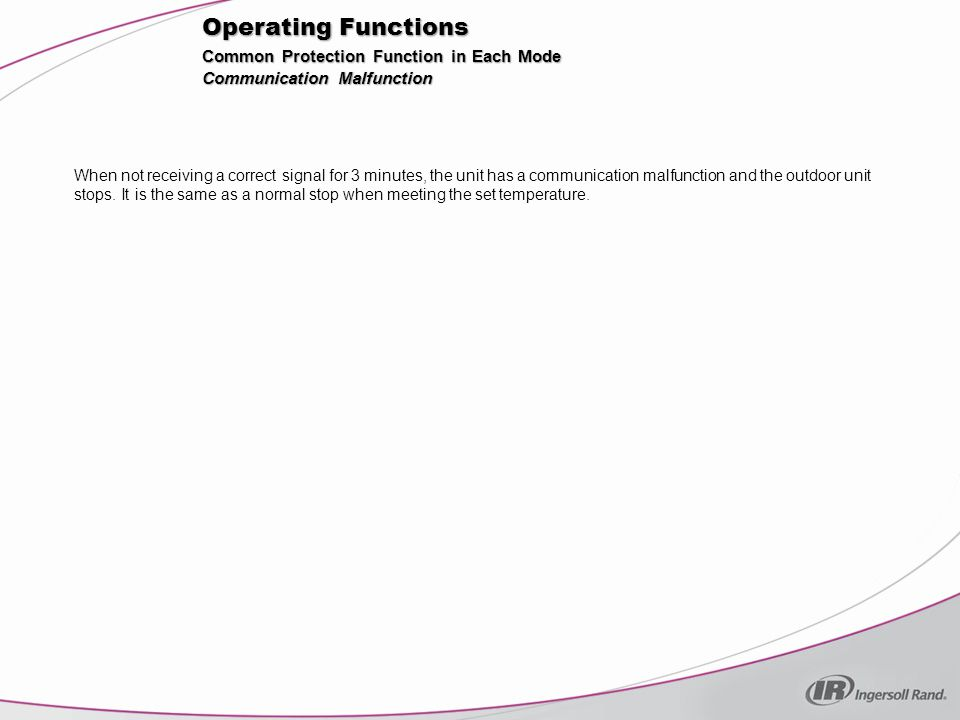 Operating Functions Common Protection Function in Each Mode