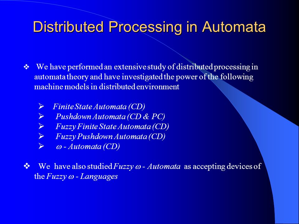 Distributed Processing in Automata