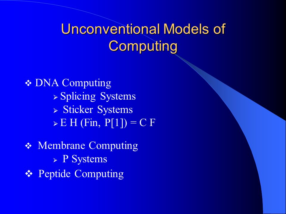 Unconventional Models of Computing