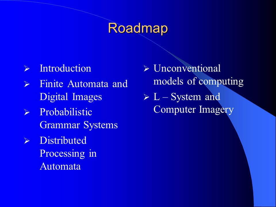 Roadmap Introduction Finite Automata and Digital Images