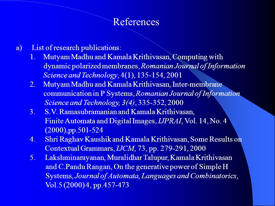 References List of research publications:
