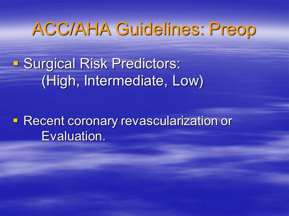 ACC/AHA Guidelines: Preop