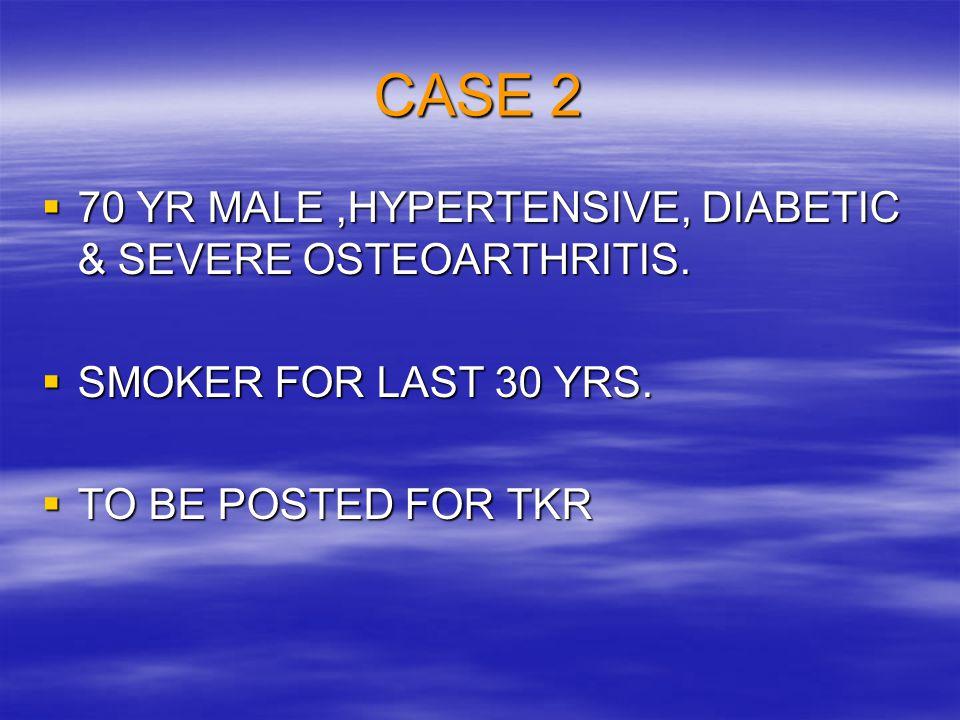 CASE 2 70 YR MALE ,HYPERTENSIVE, DIABETIC & SEVERE OSTEOARTHRITIS.