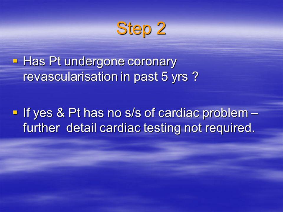 Step 2 Has Pt undergone coronary revascularisation in past 5 yrs