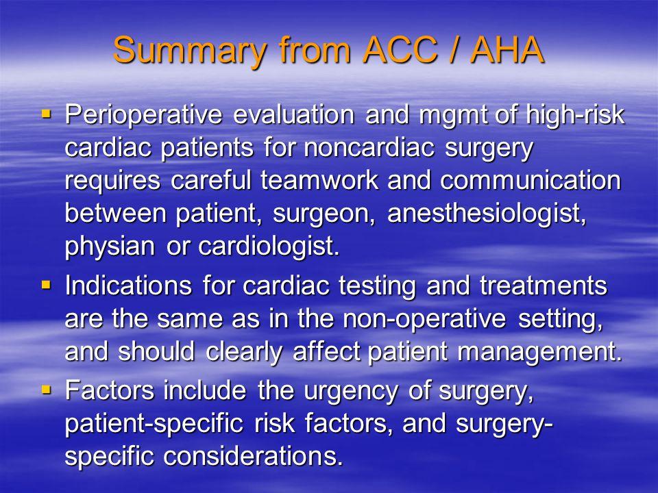 Summary from ACC / AHA