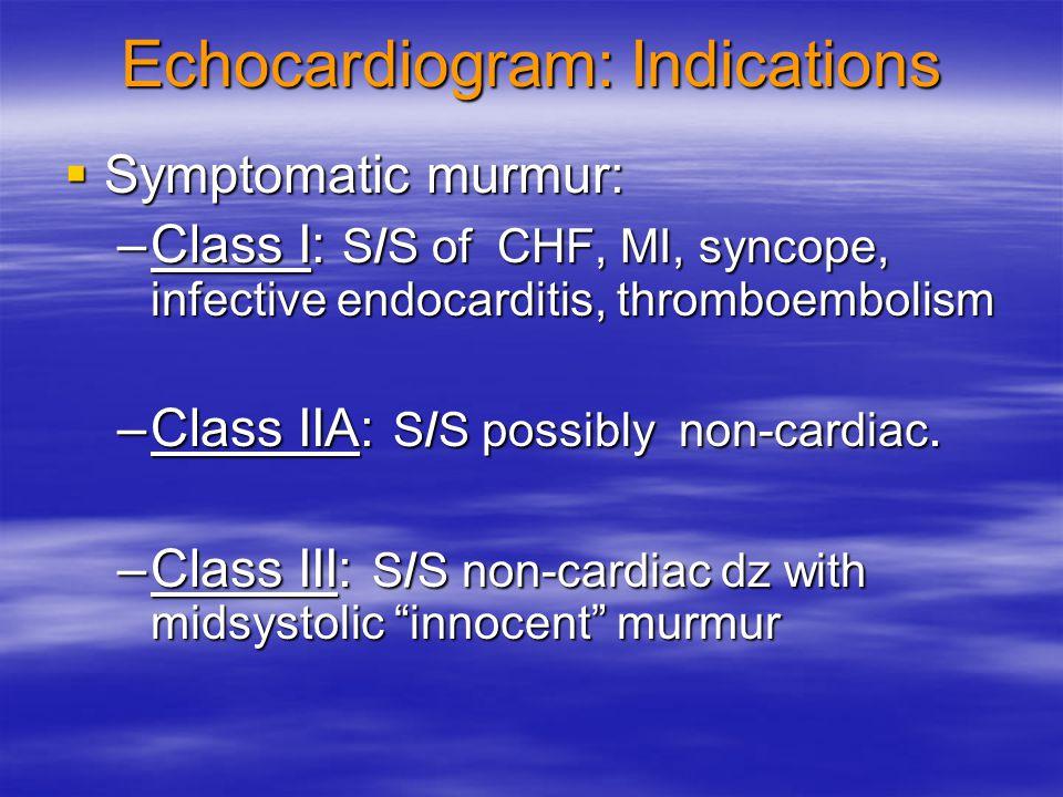 Echocardiogram: Indications