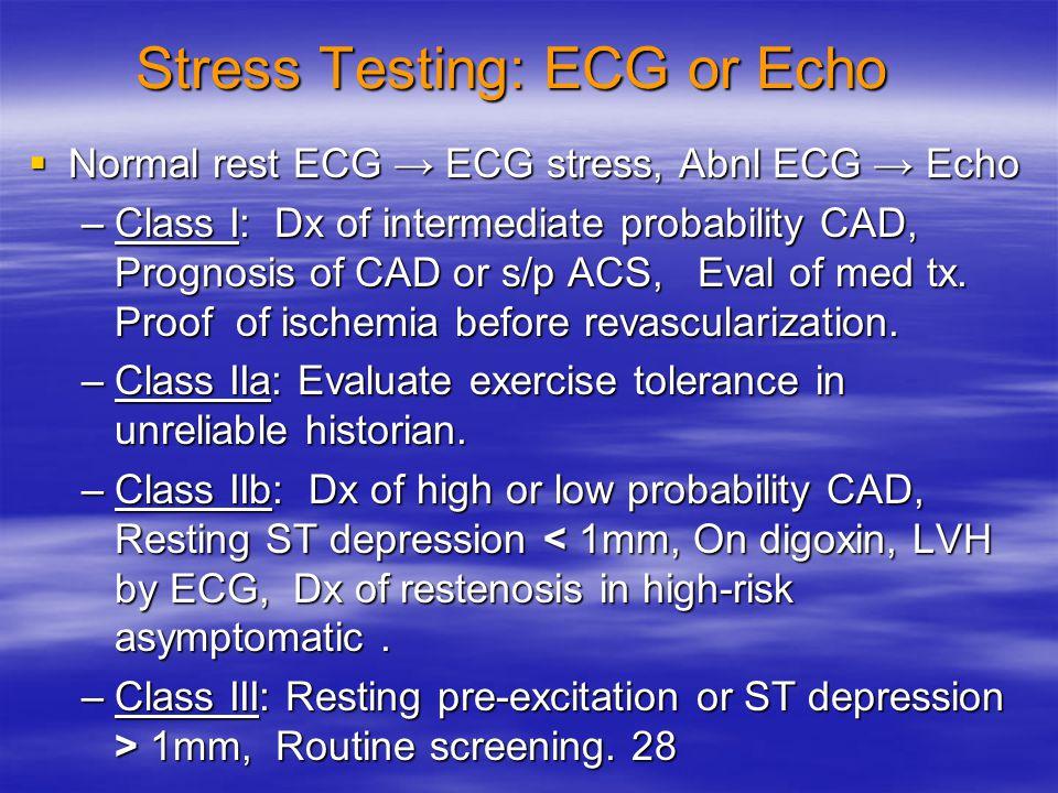 Stress Testing: ECG or Echo