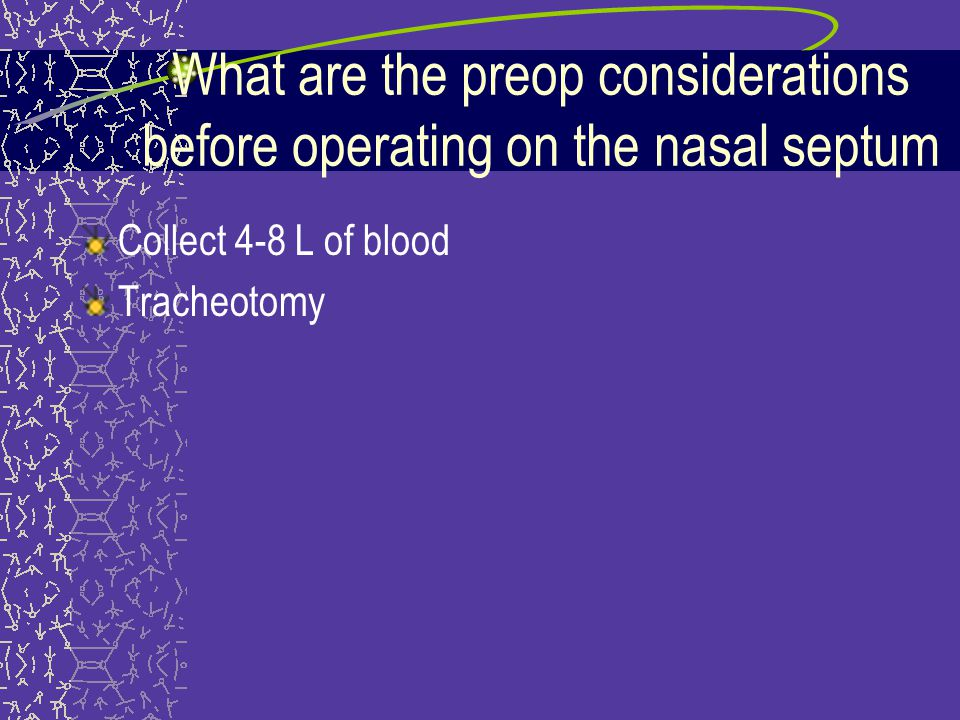 What are the preop considerations before operating on the nasal septum