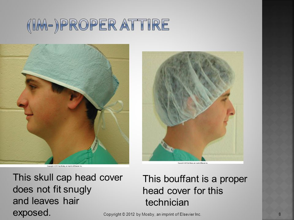 (im-)Proper attire This skull cap head cover This bouffant is a proper