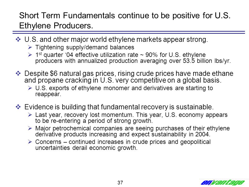 Short Term Fundamentals continue to be positive for U. S