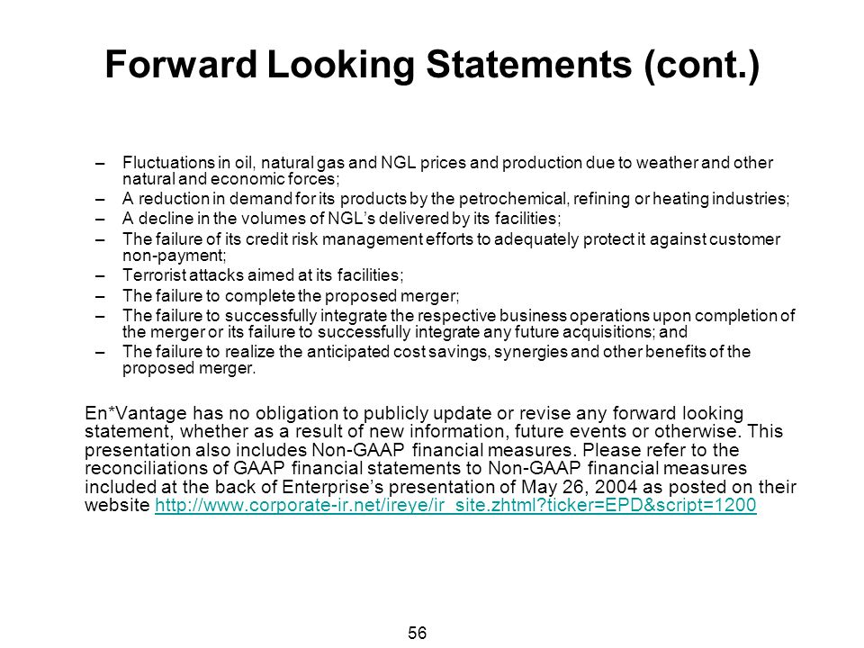 Forward Looking Statements (cont.)