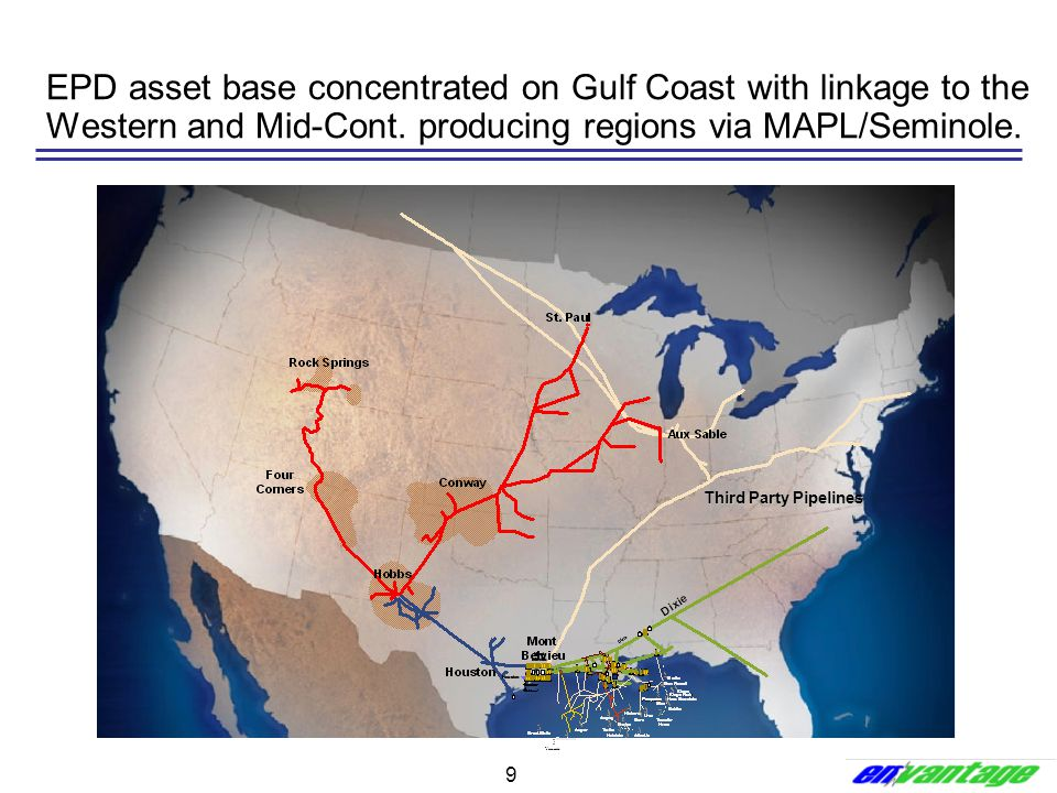EPD asset base concentrated on Gulf Coast with linkage to the Western and Mid-Cont. producing regions via MAPL/Seminole.