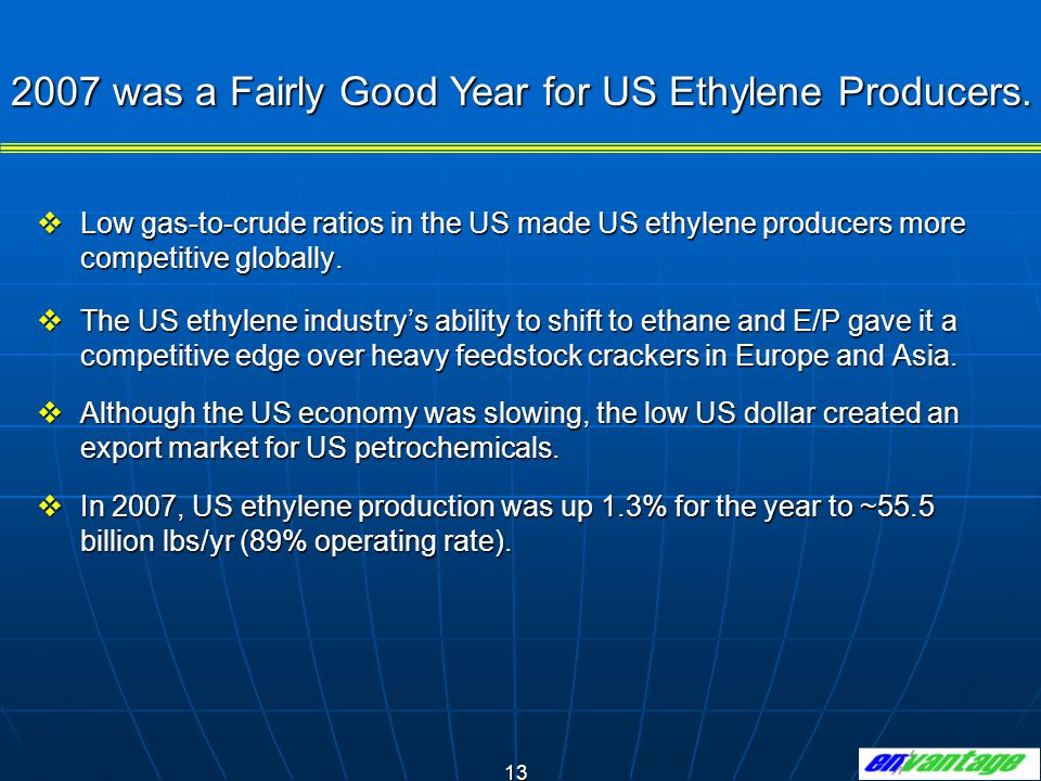 2007 was a Fairly Good Year for US Ethylene Producers.